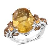 Canary Fluorite, Brazilian Citrine Platinum Over Sterling Silver Ring (Size 7.0) TGW 12.51 cts.