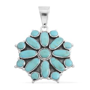 Santa Fe Style Kingman Turquoise Sterling Silver Pendant without Chain TGW 2.50 cts.
