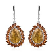 Canary Fluorite, Brazilian Citrine Platinum Over Sterling Silver Earrings TGW 15.40 cts.