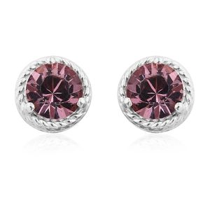 Sterling Silver Stud Earrings Made with SWAROVSKI Antique Pink Crystal TGW 2.70 cts.