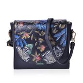 Black Faux Leather Floral Painted Saddle Clutch (7.5x3x7 in) with Removable Crossbody Strap (46 in)