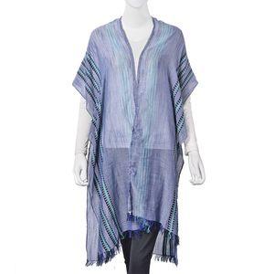 Black and Green Stripe Pattern 100% Viscose Kimono (31.5x39.37 in)