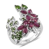 Niassa Ruby, Russian Diopside, Ruby Platinum Over Sterling Silver Ring (Size 7.0) TGW 2.97 cts.