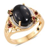 GP Thai Black Spinel, Russian Diopside, Enameled 14K YG Over Sterling Silver Ring (Size 7.0) TGW 9.03 cts.