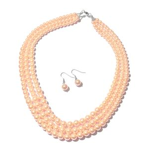 Pink Glass Pearl Silvertone and Stainless Steel Earrings and Necklace (20 in) TGW 603.00 cts.