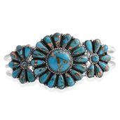 Santa Fe Style Mojave Blue Turquoise Sterling Silver Cuff (7 in) TGW 20.00 cts.