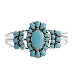 Santa Fe Style Kingman Turquoise Sterling Silver Bracelet (7.00 In) TGW 28.00 cts.