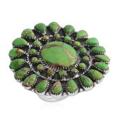Santa Fe Style Mojave Green Turquoise Sterling Silver Ring (Size 7.0) TGW 10.50 cts.