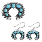 Santa Fe Style Kingman Turquoise Sterling Silver Earrings and Horseshoe Pendant without Chain TGW 9.50 cts.