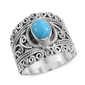 Artisan Crafted Arizona Sleeping Beauty Turquoise Sterling Silver Ring (Size 6.0) TGW 1.78 cts.