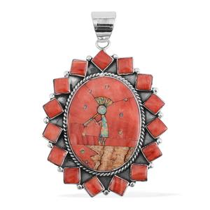 Santa Fe Style Red Shell, Multi Gemstone Sterling Silver Kokopelli Pendant without Chain TGW 1.25 cts.