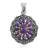 Santa Fe Style Mojave Purple Turquoise Sterling Silver Pendant without Chain TGW 1.75 cts.