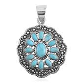 Santa Fe Style Kingman Turquoise Sterling Silver Pendant without Chain TGW 1.75 cts.