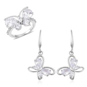 Simulated White Diamond Silvertone Butterfly Threader Earrings and Ring (Size 9) TGW 7.00 cts.