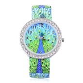STRADA Austrian Crystal Japanese Movement Peacock Pattern Bracelet Watch in Silvertone (Stretchable)