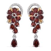 Mozambique Garnet, Cambodian Zircon 14K YG and Platinum Over Sterling Silver Earrings TGW 5.15 cts.