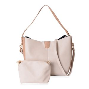 Beige and Tan Faux Leather Magnetic Closure Shoulder Bag (14x5x11 in) and Matching Crossbody Pouch Bag and Removable Strap (9x2.5x6 in)