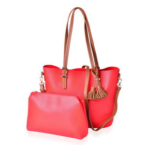 Red and Brown Faux Leather Tote Bag (15.4x13x11.3 in) and Pouch Bag (11x2.4x7.4 in)