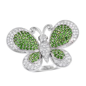 Russian Diopside, Cambodian Zircon, Thai Black Spinel Platinum Over Sterling Silver Butterfly Ring (Size 6.0) TGW 5.33 cts.
