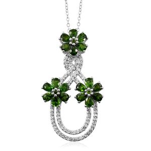Russian Diopside, Cambodian Zircon Platinum Over Sterling Silver Pendant With Chain (20 in) TGW 3.71 cts.