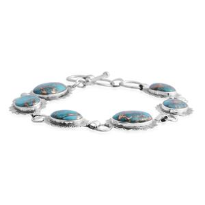 Santa Fe Style Mojave Blue Turquoise Sterling Silver Bracelet (7.00 In) TGW 17.00 cts.