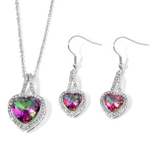 Magic Color Glass, White Austrian Crystal Stainless Steel Earrings and Pendant With Chain (20 in) TGW 21.23 cts.