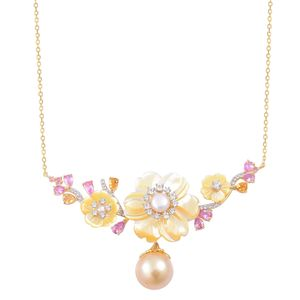 South Sea Golden Pearl (12-12.5 mm), Multi Gemstone 14K YG Over Sterling Silver Necklace (20 in) TGW 2.75 cts.