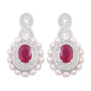 Inspire by Liz Fuller, Passion Collection Niassa Ruby, Freshwater Pearl, White Zircon 935 Argentium Silver Earrings TGW 4.51 cts.