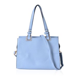 Dusty Blue Geometric Striped Pattern Faux Leather Tote Bag with Standing Stud and Removable Strap (13x5x9 in)