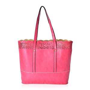 Cherry Red Faux Leather Laser-cut Tote Bag (14x4x12 in)
