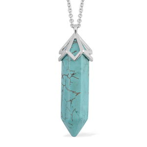 One Time Only Aqua Howlite Silvertone Crystal Point Pendant With Chain (34 In) TGW 45.00 cts.