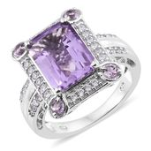 Rose De France Amethyst, Cambodian Zircon Platinum Over Sterling Silver Ring (Size 9.0) TGW 7.60 cts.