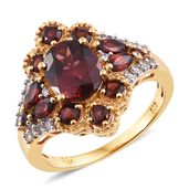 Mozambique Garnet, Cambodian Zircon 14K YG Over Sterling Silver Ring (Size 7.0) TGW 5.62 cts.