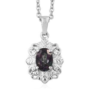 Northern Lights Mystic Topaz Platinum Over Sterling Silver Pendant With Stainless Steel Chain (20 in) TGW 0.90 cts.