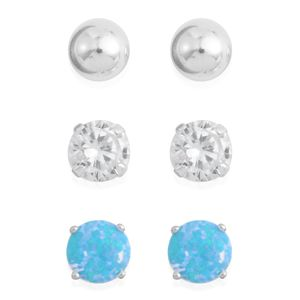Set of 3 Simulated Diamond, Blue Opal Sterling Silver Stud Earrings TGW 2.86 cts.