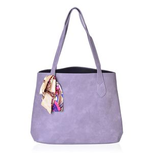 Lilac Faux Leather Tote Bag with Detachable Interior Pockets (14x5.5x12.5 in) and Multi Color 100% Polyester Scarf (36x1.5 in)