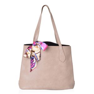 Tan Faux Leather Tote Bag with Detachable Interior Pockets (14x5.5x12.5 in) and Multi Color 100% Polyester Scarf (36x1.5 in)