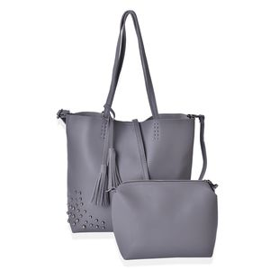 Gray Faux Leather Tote Bag (15.2x11.6x12.2 in) and Pouch Bag (8.2x4x7 in)