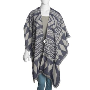White and Blue 50% Cotton & 50% Acrylic Blend Poncho (40x80 in)