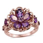 Rose De France Amethyst, Amethyst, Orissa Rhodolite Garnet 14K RG Over Sterling Silver Floral Ring (Size 10.0) TGW 4.64 cts.