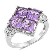 Rose De France Amethyst, Cambodian Zircon Platinum Over Sterling Silver Ring (Size 5.0) TGW 4.46 cts.