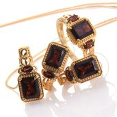 Mozambique Garnet 14K YG Over Sterling Silver Earrings, Ring (Size 5) and Pendant With Chain (20 in) TGW 12.10 cts.