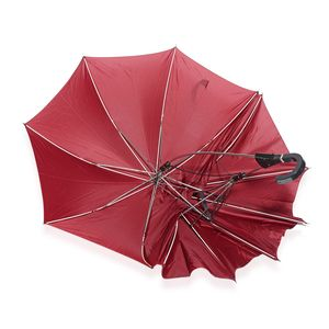 Maroon and Black Polyester, Silvertone Couple Umbrella in One Holder (34.5 in)