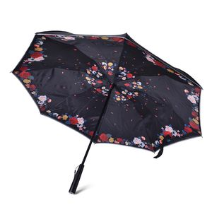 Multi Color Flower Pattern Polyester Double Layer Inverted Umbrella with LED Light Handle (29.5 in)
