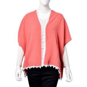 Coral 100% Bamboo Cotton Lace Border Kimono (One Size)