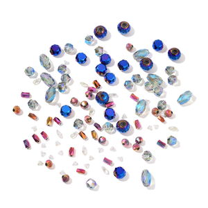 Gem Workshop Multi Color Glass Beads Gemstone (4-16mm) (100-120 Pieces) TGW 426.50 cts.