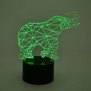 3D Elephant Image on LED Light Display Base (3AA Batteries Not Included) (8x3 in)