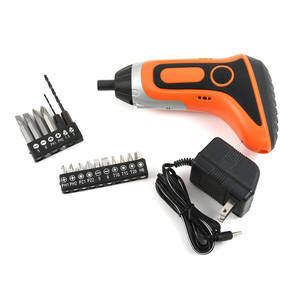 Orange and Black Resin, Stainless Steel Set of LED Light Electric Screwdriver