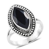 Artisan Crafted Thai Black Spinel Sterling Silver Ring (Size 10.0) TGW 7.28 cts.