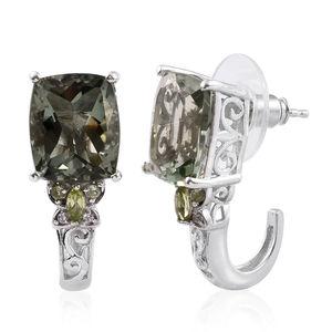 Montezuma Prasiolite, Hebei Peridot, Cambodian Zircon Platinum Over Sterling Silver J-Hoop Earrings TGW 10.13 cts.